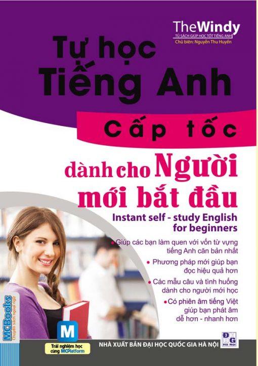 Tự học tiếng Anh cấp tốc cho người mới bắt đầu bìa trước 3d