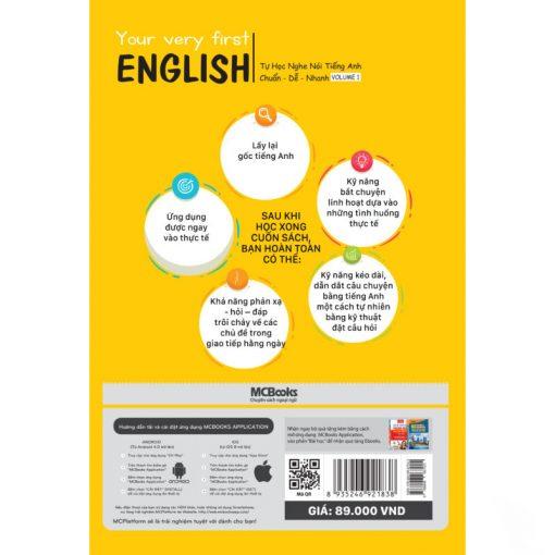 Your very first English Tự học nghe nói tiếng Anh chuẩn dễ nhanh – Volume 1 bìa sau 2d