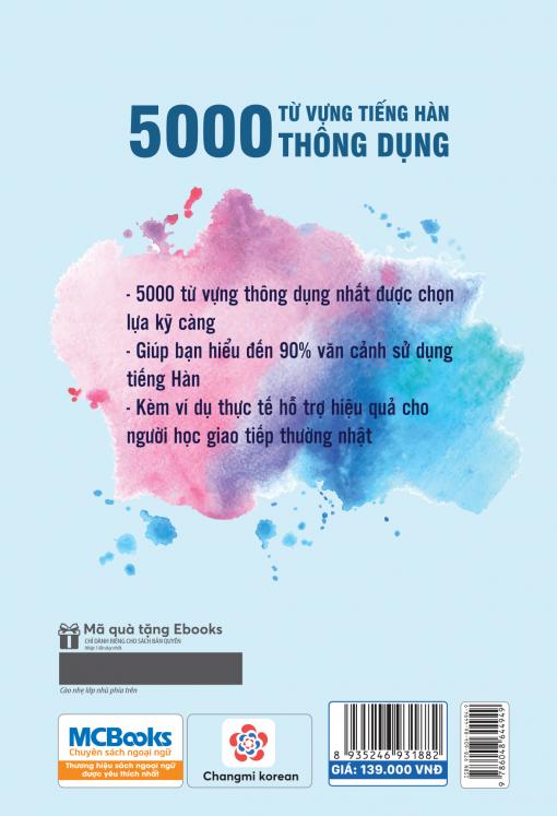 Bìa sau sách 5000 từ vựng tiếng Hàn