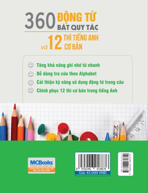 360 động từ bất quy tắc và 12 thì cơ bản trong tiếng Anh bìa sau 2d
