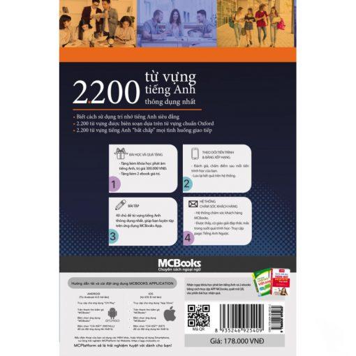2200 Từ vựng tiếng Anh thông dụng nhất bìa sau 2d